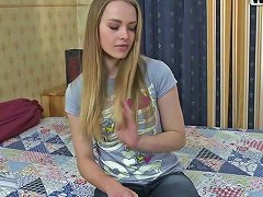 Sexy Blonde Teen Invites A Young Man To Her Bedroom For Fuck