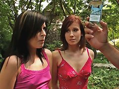 Two Slim Cuties Get Their Holes Pounded Hard In A Garden